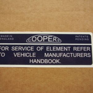 Cooper S Air Box Coopers Filter Sticker